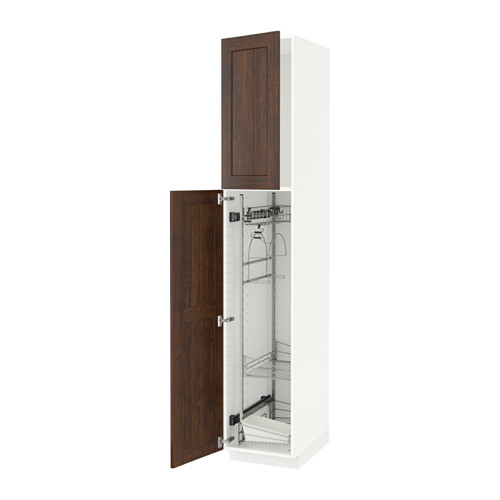 METOD - high cabinet with cleaning interior, white/Edserum brown | IKEA Hong Kong and Macau - PE588119_S4