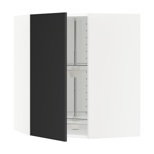 METOD - corner wall cabinet with carousel, white/Uddevalla anthracite | IKEA Hong Kong and Macau - PE649062_S4