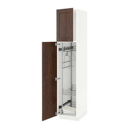 METOD - high cabinet with cleaning interior, white/Edserum brown | IKEA Hong Kong and Macau - PE588205_S4