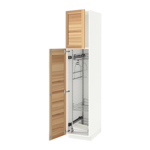 METOD - high cabinet with cleaning interior, white/Torhamn ash | IKEA Hong Kong and Macau - PE588206_S4