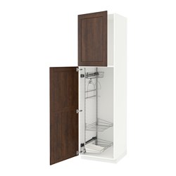 METOD - high cabinet with cleaning interior, white/Edserum brown | IKEA 香港及澳門 - PE588217_S3