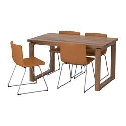 BERNHARD/MÖRBYLÅNGA - table and 4 chairs, oak veneer/Mjuk golden-brown   IKEA Hong Kong and Macau - PE696391_S3