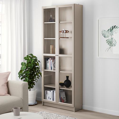 BILLY - bookcase with glass-doors, grey/metallic effect | IKEA Hong Kong and Macau - PE778290_S4