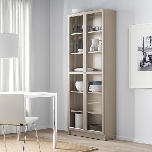 BILLY - bookcase with glass-doors, grey/metallic effect | IKEA Hong Kong and Macau - PE778289_S4
