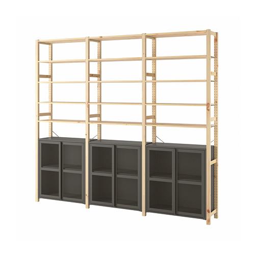 IVAR - 3 sections/cabinet/shelves, 259x30x226 cm, pine/grey mesh   IKEA Hong Kong and Macau - PE792408_S4