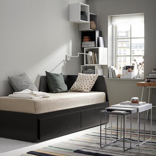 FLEKKE - 日間床連2抽屜及2床褥, 棕黑色/Malfors 高度承托   IKEA 香港及澳門 - PE739512_S4