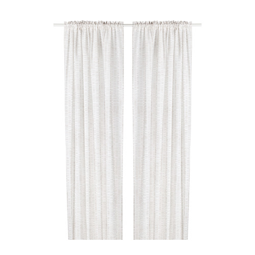KLÖVERALM - curtains, 1 pair, white/beige | IKEA Hong Kong and Macau - PE792437_S4