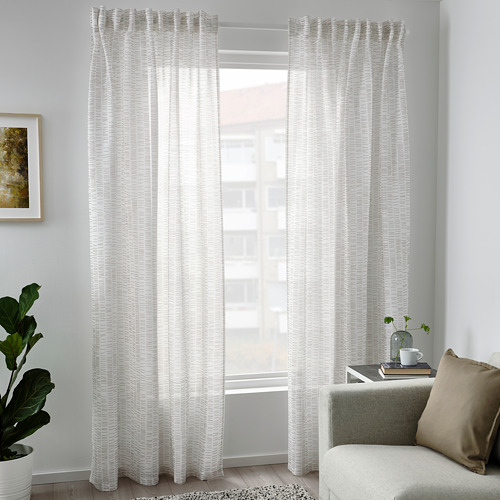 KLÖVERALM - curtains, 1 pair, white/beige | IKEA Hong Kong and Macau - PE792438_S4