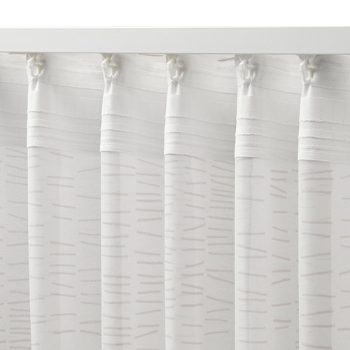KLÖVERALM - curtains, 1 pair, white/beige | IKEA Hong Kong and Macau - PE792441_S4