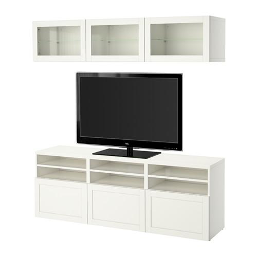 BESTÅ - TV storage combination/glass doors, Hanviken white clear glass | IKEA Hong Kong and Macau - PE527595_S4