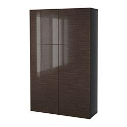 BESTÅ - storage combination with doors, black-brown/Selsviken high-gloss/brown | IKEA Hong Kong and Macau - PE527606_S3