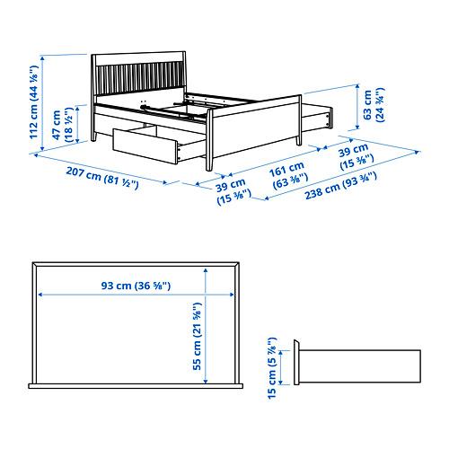 IDANÄS - 特大雙人床架連抽屜, 深褐色/Luröy | IKEA 香港及澳門 - PE792557_S4