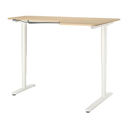 BEKANT - corner desk right sit/stand, 160x110cm, white stained oak veneer white | IKEA Hong Kong and Macau - PE739654_S4
