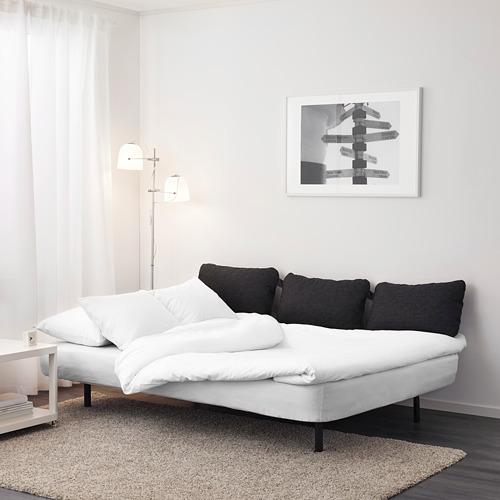 NYHAMN - 3-seat sofa-bed, with foam mattress/Knisa grey/beige   IKEA Hong Kong and Macau - PE640891_S4