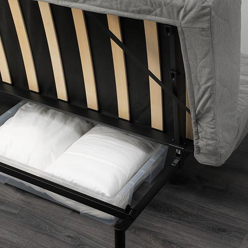 NYHAMN - 3-seat sofa-bed, with foam mattress/Knisa grey/beige   IKEA Hong Kong and Macau - PE641072_S4