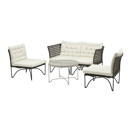 JUTHOLMEN - 4-seat conversation set, outdoor, dark grey/Kuddarna beige | IKEA Hong Kong and Macau - PE778353_S4