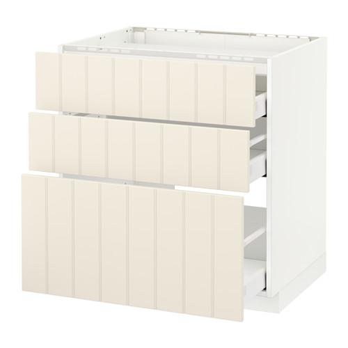 METOD 爐具地櫃連3面板/3抽屜