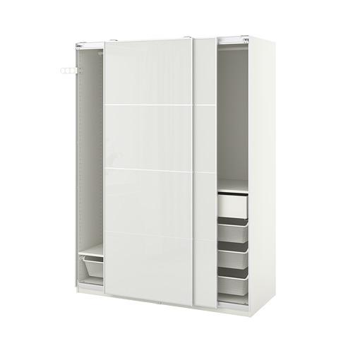 PAX/HOKKSUND - wardrobe combination, white/high-gloss light grey | IKEA Hong Kong and Macau - PE792728_S4