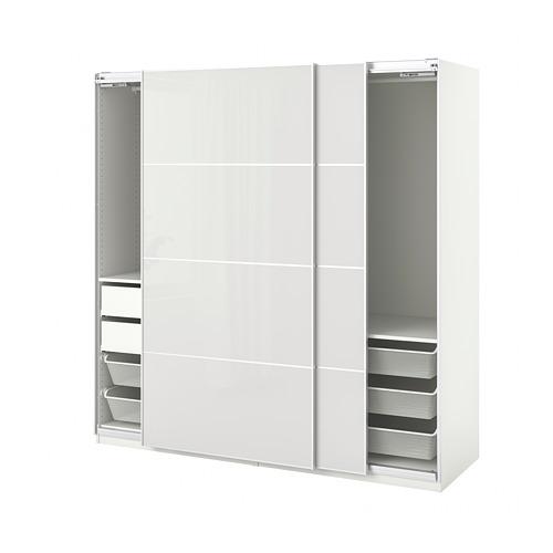 PAX/HOKKSUND - wardrobe combination, white/high-gloss light grey   IKEA Hong Kong and Macau - PE792755_S4