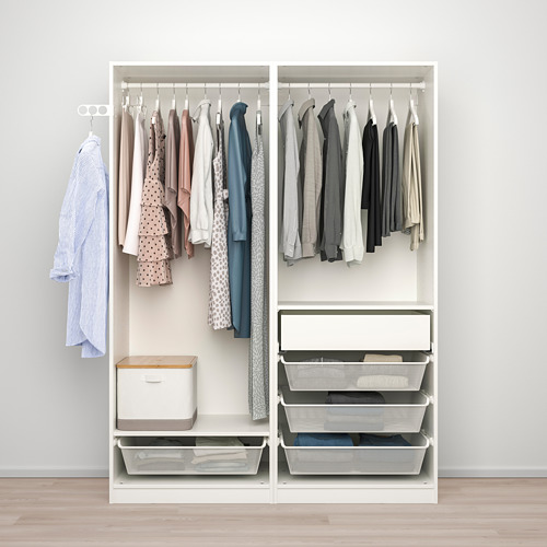 PAX/HOKKSUND - 衣櫃組合, white/high-gloss light grey | IKEA 香港及澳門 - PE792775_S4