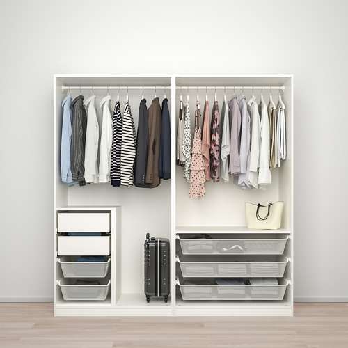 PAX/HOKKSUND - wardrobe combination, white/high-gloss light grey   IKEA Hong Kong and Macau - PE792788_S4