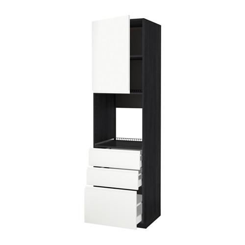 METOD - 焗爐用高櫃連抽屜櫃門組合, 黑色 Maximera/Voxtorp 白色   IKEA 香港及澳門 - PE589129_S4