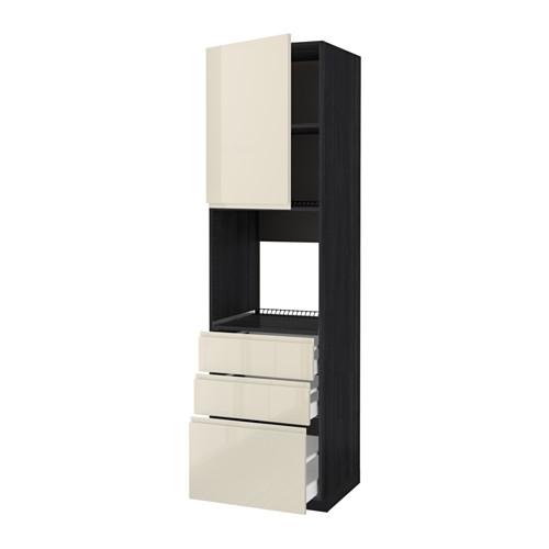METOD - 焗爐用高櫃連抽屜櫃門組合, 黑色 Maximera/Voxtorp 光面淺米色 | IKEA 香港及澳門 - PE589149_S4
