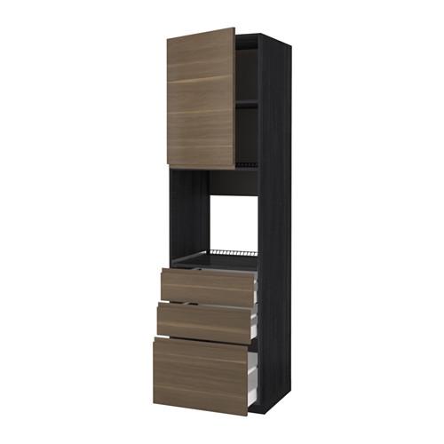 METOD - 焗爐用高櫃連抽屜櫃門組合, 黑色 Maximera/Voxtorp 胡桃木 | IKEA 香港及澳門 - PE589207_S4