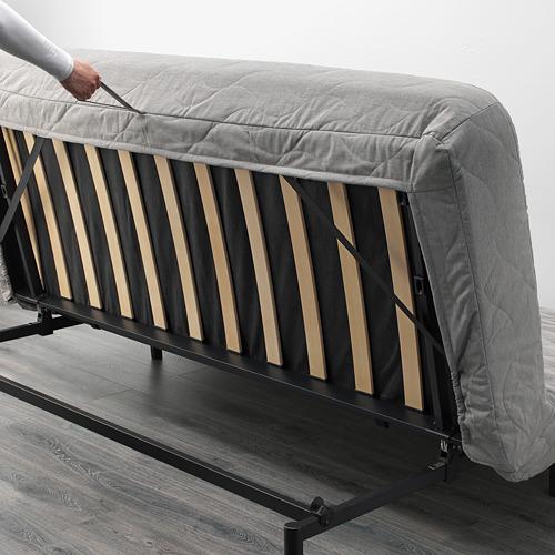 NYHAMN - 3-seat sofa-bed, with foam mattress/Knisa grey/beige   IKEA Hong Kong and Macau - PE657326_S4