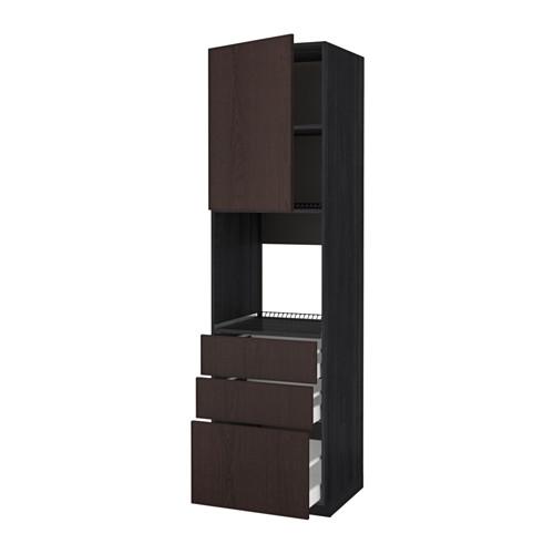 METOD - 焗爐用高櫃連抽屜櫃門組合, 黑色 Maximera/Ekestad 褐色 | IKEA 香港及澳門 - PE589213_S4