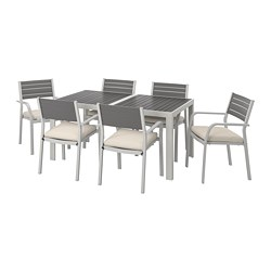 SJÄLLAND - table+6 chairs w armrests, outdoor, dark grey/Frösön/Duvholmen beige | IKEA Hong Kong and Macau - PE740130_S3