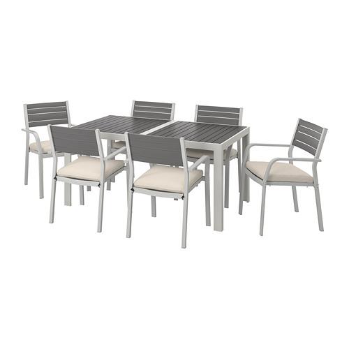 SJÄLLAND - 戶外檯連扶手椅組合, 深灰色/Frösön/Duvholmen 米黃色 | IKEA 香港及澳門 - PE740130_S4