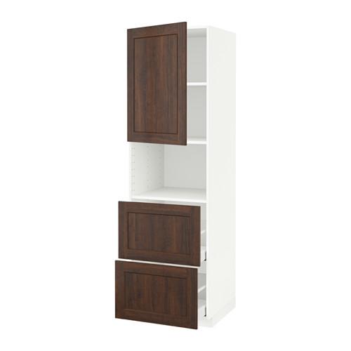METOD/MAXIMERA - hi cab f micro w door/2 drawers, white/Edserum brown | IKEA Hong Kong and Macau - PE589371_S4