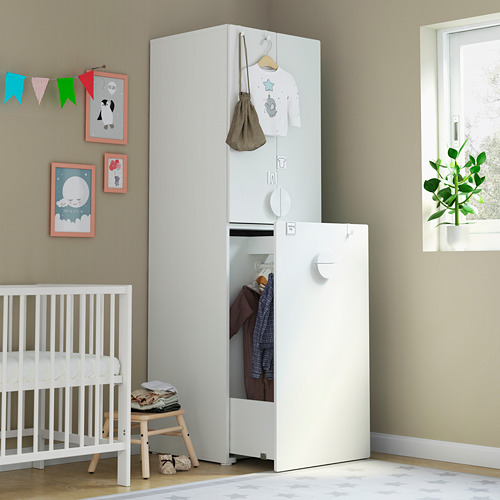 SMÅSTAD - wardrobe with pull-out unit, white with frame/with clothing rod | IKEA Hong Kong and Macau - PE792916_S4