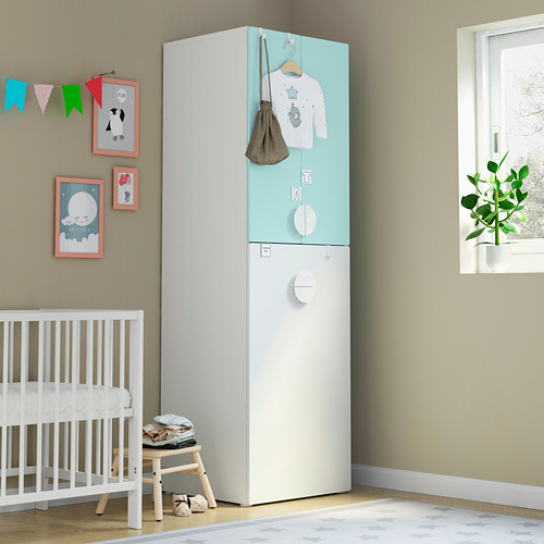 SMÅSTAD - wardrobe with pull-out unit, white pale turquoise/with clothing rod | IKEA Hong Kong and Macau - PE792918_S4