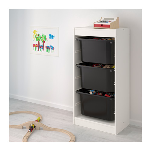 TROFAST - storage combination with boxes, white/black | IKEA Hong Kong and Macau - PE649683_S4