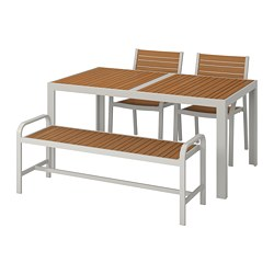 SJÄLLAND - table+2 chairs+ bench, outdoor, light brown/light grey | IKEA Hong Kong and Macau - PE740189_S3