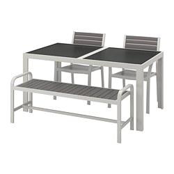 SJÄLLAND - table+2 chairs+ bench, outdoor, glass grey/light grey   IKEA Hong Kong and Macau - PE740231_S3
