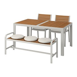 SJÄLLAND - table+2 chairs+ bench, outdoor, light brown/Frösön/Duvholmen beige | IKEA Hong Kong and Macau - PE740262_S3