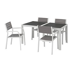SJÄLLAND - table+4 chairs w armrests, outdoor, glass grey/light grey   IKEA Hong Kong and Macau - PE740289_S3