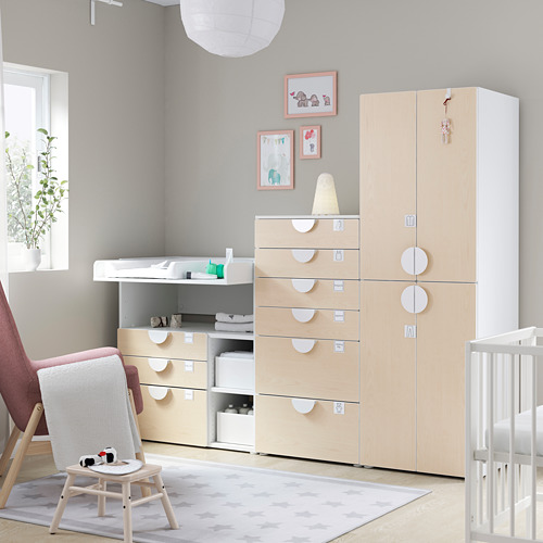 PLATSA/SMÅSTAD - storage combination, white birch/with changing table   IKEA Hong Kong and Macau - PE793035_S4