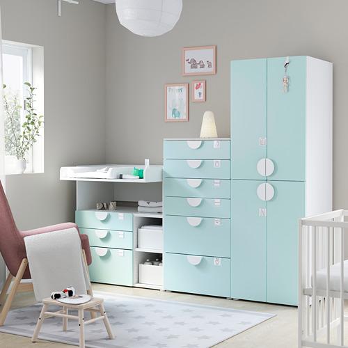 PLATSA/SMÅSTAD - 貯物組合, white pale turquoise/with changing table | IKEA 香港及澳門 - PE793041_S4