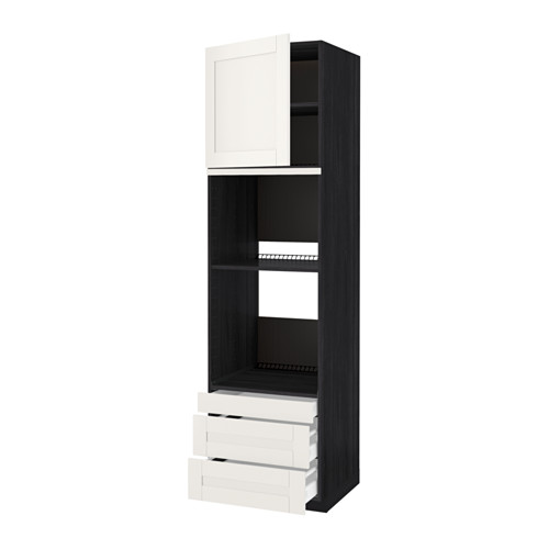 METOD - hi cab f ov/combi ov w dr/3 drwrs, black Maximera/Sävedal white   IKEA Hong Kong and Macau - PE524590_S4