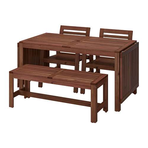 ÄPPLARÖ - table+2 chrs w armr+bench, outdoor brown stained | IKEA Hong Kong and Macau - PE740362_S4