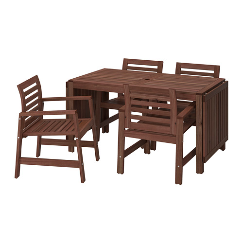 ÄPPLARÖ - table+4 chairs w armrests, outdoor, brown stained | IKEA Hong Kong and Macau - PE740353_S4