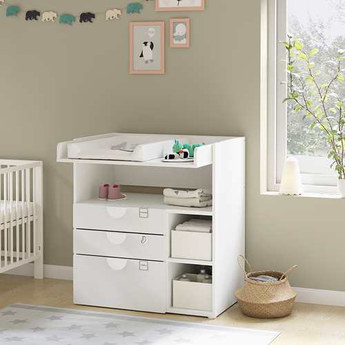 SMÅSTAD - changing table, white white/with 3 drawers   IKEA Hong Kong and Macau - PE793069_S4