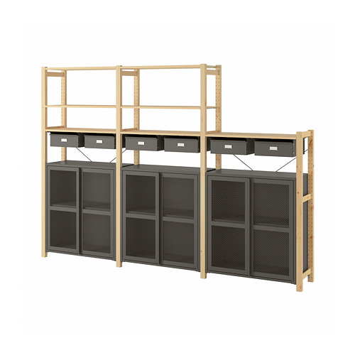 IVAR - shelving unit w cabinets/drawers, 259x30x179 cm, pine/grey mesh | IKEA Hong Kong and Macau - PE793103_S4