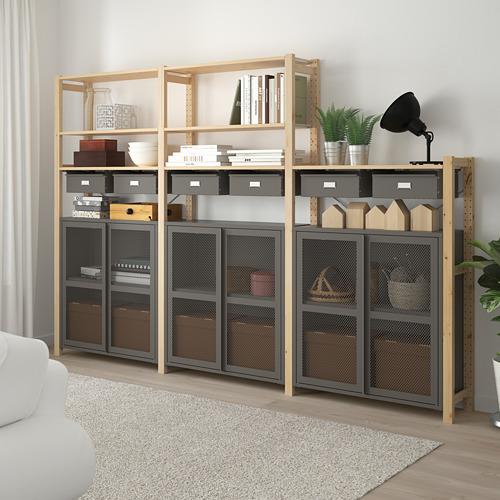 IVAR - shelving unit w cabinets/drawers, 259x30x179 cm, pine/grey mesh | IKEA Hong Kong and Macau - PE793104_S4