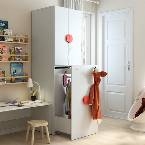SMÅSTAD - wardrobe with pull-out unit, white with frame/with clothing rod | IKEA Hong Kong and Macau - PE793106_S4
