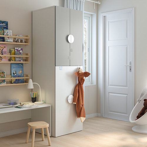 SMÅSTAD - wardrobe with pull-out unit, white grey/with clothing rod | IKEA Hong Kong and Macau - PE793108_S4